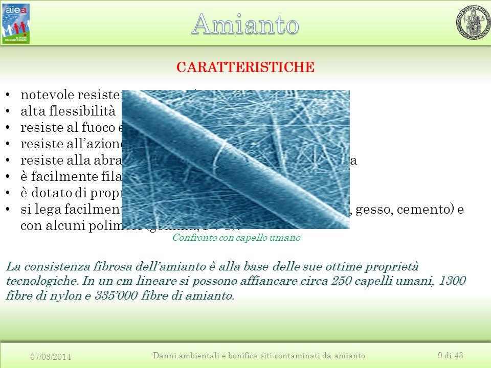 07/03/2014 Danni ambientali e bonifica siti contaminati da amianto9 di 43 CARATTERISTICHE notevole resistenza meccanica alta flessibilità resiste al f