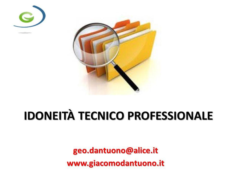 IDONEITÀ TECNICO PROFESSIONALE geo.dantuono@alice.itwww.giacomodantuono.it