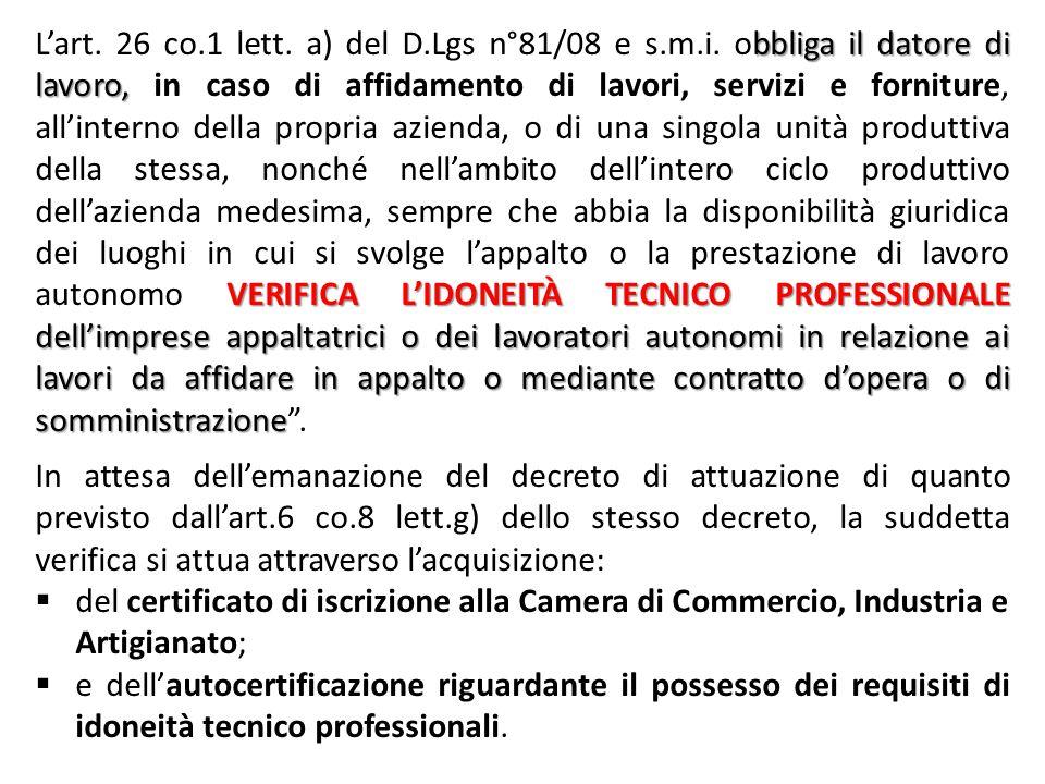 ALLEGATO XVII – D.Lgs n°81/08 e s.m.i. IDONEITÀ TECNICO PROFESSIONALE