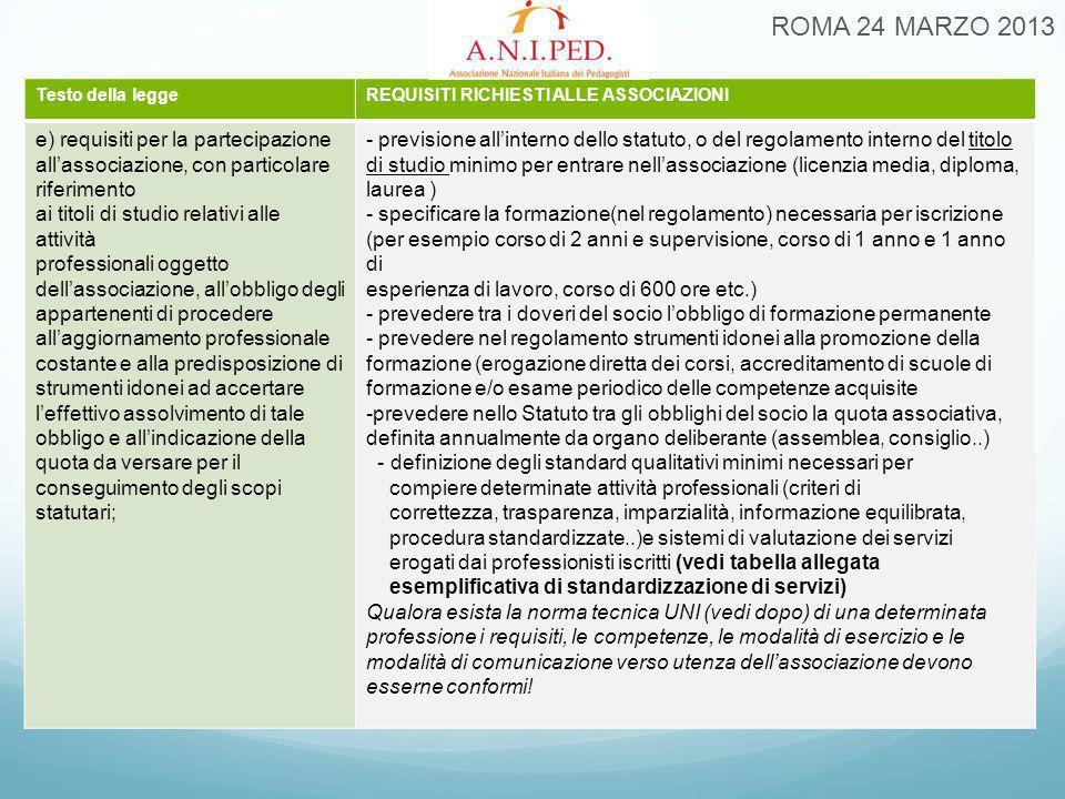 ROMA 24 MARZO 2013 Testo della leggeREQUISITI RICHIESTI ALLE ASSOCIAZIONI e) requisiti per la partecipazione all'associazione, con particolare riferim