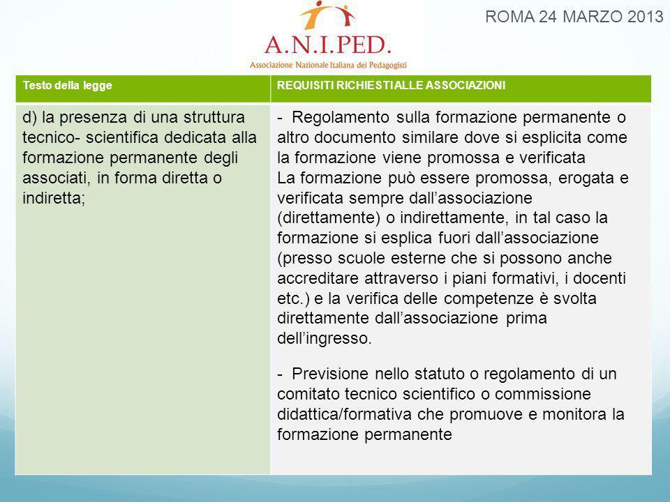 ROMA 24 MARZO 2013 Testo della leggeREQUISITI RICHIESTI ALLE ASSOCIAZIONI d) la presenza di una struttura tecnico- scientifica dedicata alla formazion