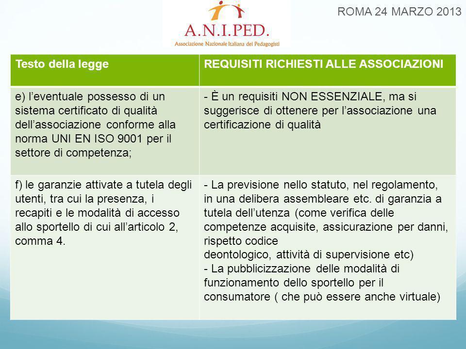 ROMA 24 MARZO 2013 Testo della leggeREQUISITI RICHIESTI ALLE ASSOCIAZIONI e) l'eventuale possesso di un sistema certificato di qualità dell'associazi