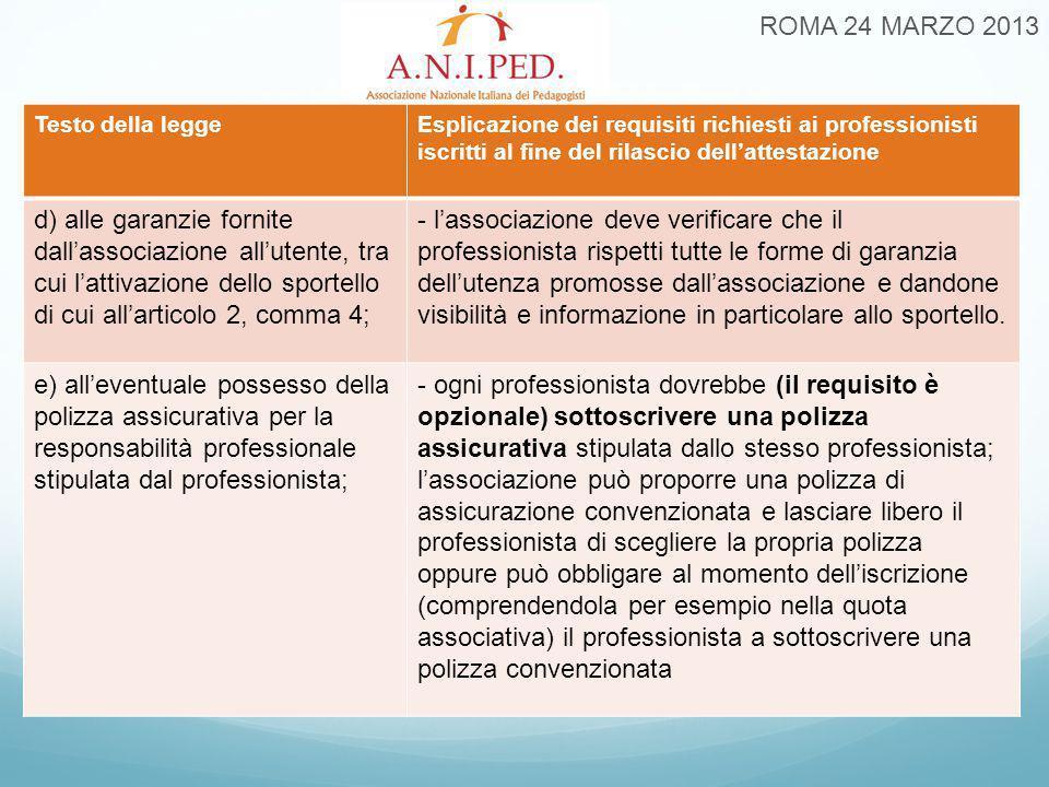 ROMA 24 MARZO 2013 Testo della leggeEsplicazione dei requisiti richiesti ai professionisti iscritti al fine del rilascio dell'attestazione d) alle gar