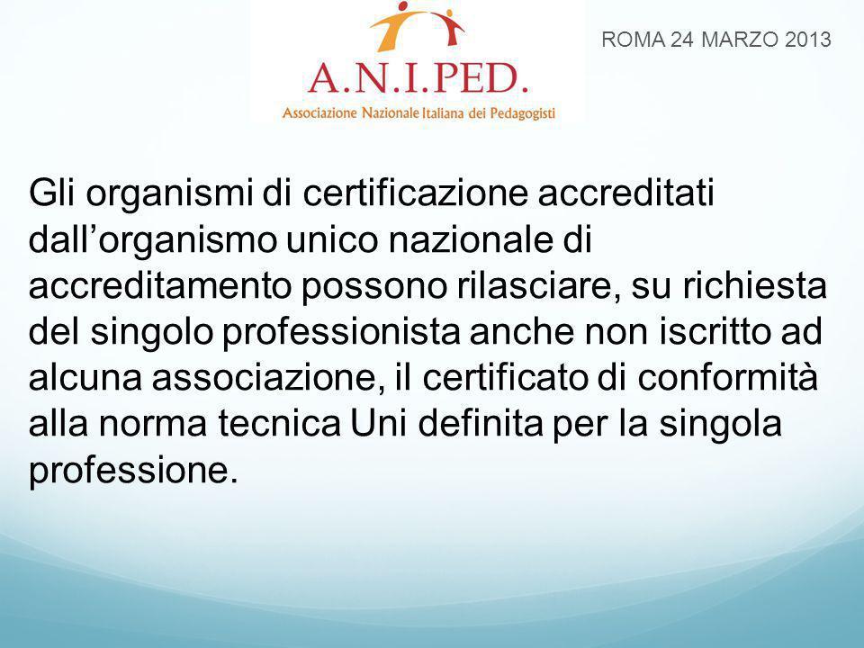 ROMA 24 MARZO 2013 Gli organismi di certificazione accreditati dall'organismo unico nazionale di accreditamento possono rilasciare, su richiesta del s