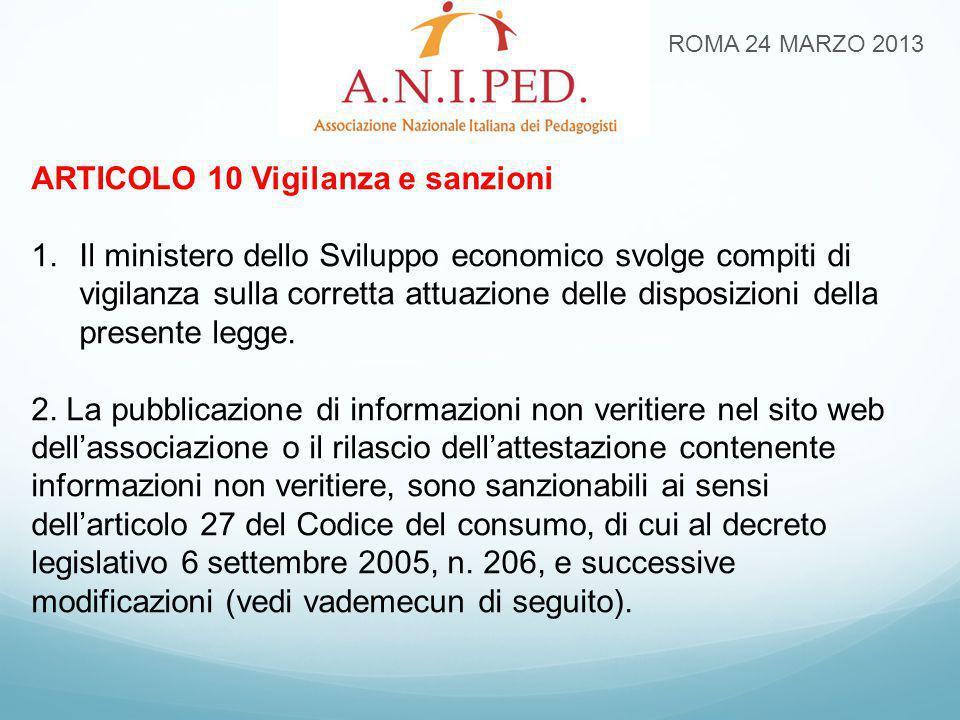 ROMA 24 MARZO 2013 ARTICOLO 10 Vigilanza e sanzioni 1.Il ministero dello Sviluppo economico svolge compiti di vigilanza sulla corretta attuazione dell