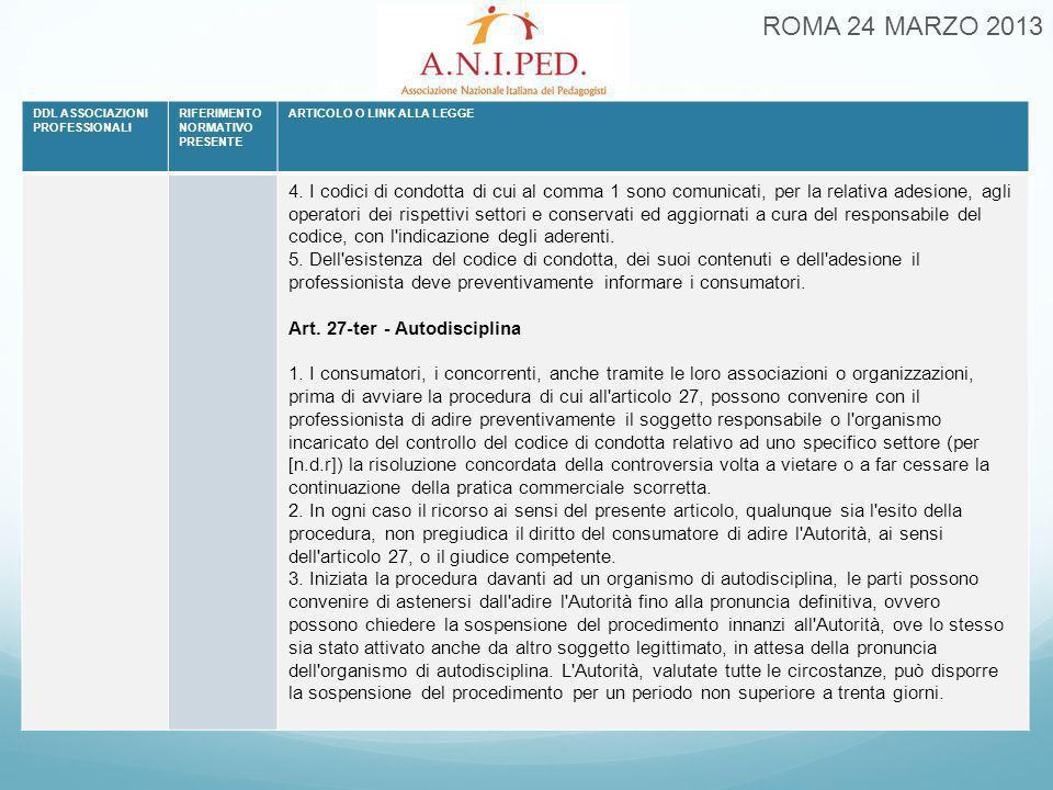 ROMA 24 MARZO 2013 DDL ASSOCIAZIONI PROFESSIONALI RIFERIMENTO NORMATIVO PRESENTE ARTICOLO O LINK ALLA LEGGE 4. I codici di condotta di cui al comma 1