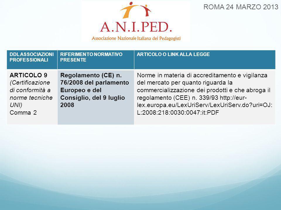 ROMA 24 MARZO 2013 DDL ASSOCIAZIONI PROFESSIONALI RIFERIMENTO NORMATIVO PRESENTE ARTICOLO O LINK ALLA LEGGE ARTICOLO 9 (Certificazione di conformità