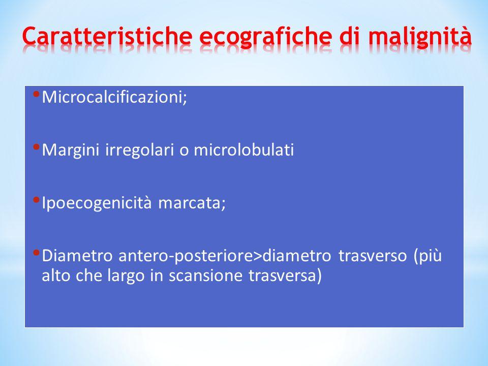 Microcalcificazioni; Margini irregolari o microlobulati Ipoecogenicità marcata; Diametro antero-posteriore>diametro trasverso (più alto che largo in s