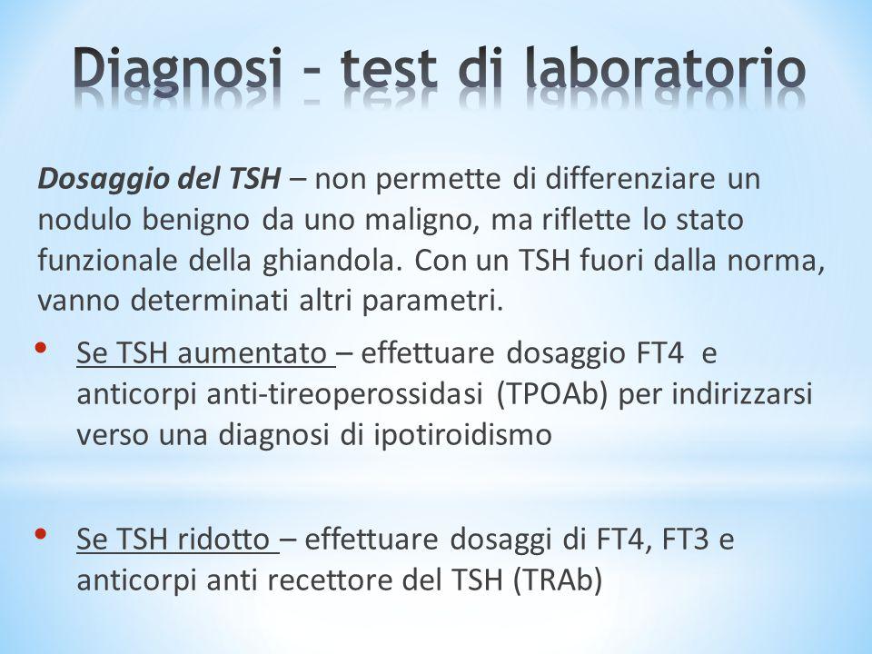 Dosaggio del TSH – non permette di differenziare un nodulo benigno da uno maligno, ma riflette lo stato funzionale della ghiandola. Con un TSH fuori d
