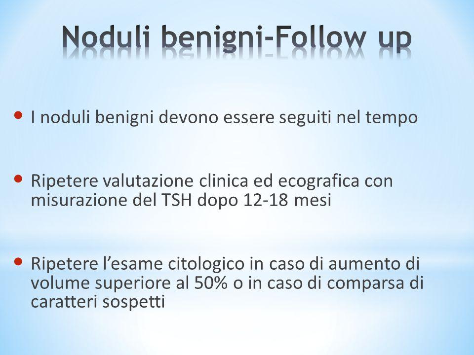 I noduli benigni devono essere seguiti nel tempo Ripetere valutazione clinica ed ecografica con misurazione del TSH dopo 12-18 mesi Ripetere l'esame c