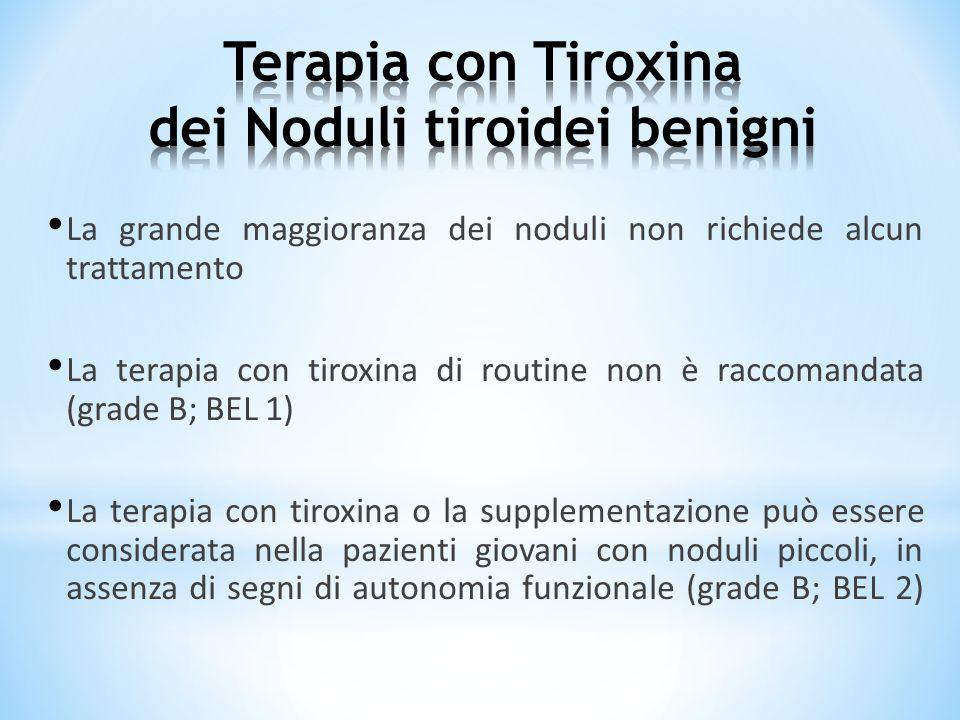 La grande maggioranza dei noduli non richiede alcun trattamento La terapia con tiroxina di routine non è raccomandata (grade B; BEL 1) La terapia con