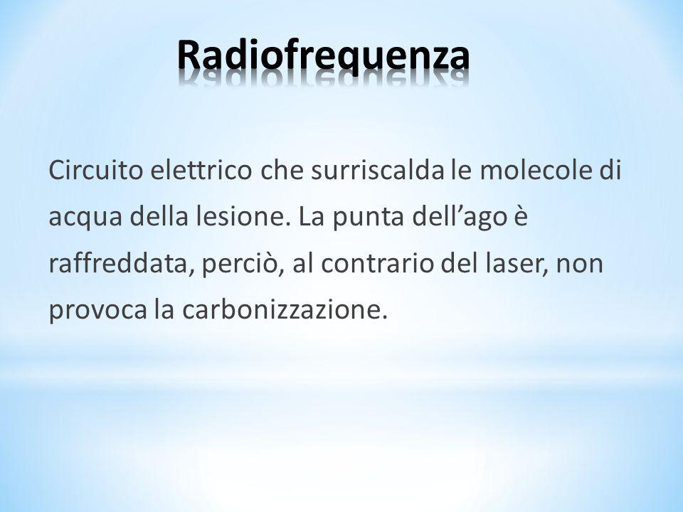 Circuito elettrico che surriscalda le molecole di acqua della lesione. La punta dell'ago è raffreddata, perciò, al contrario del laser, non provoca la