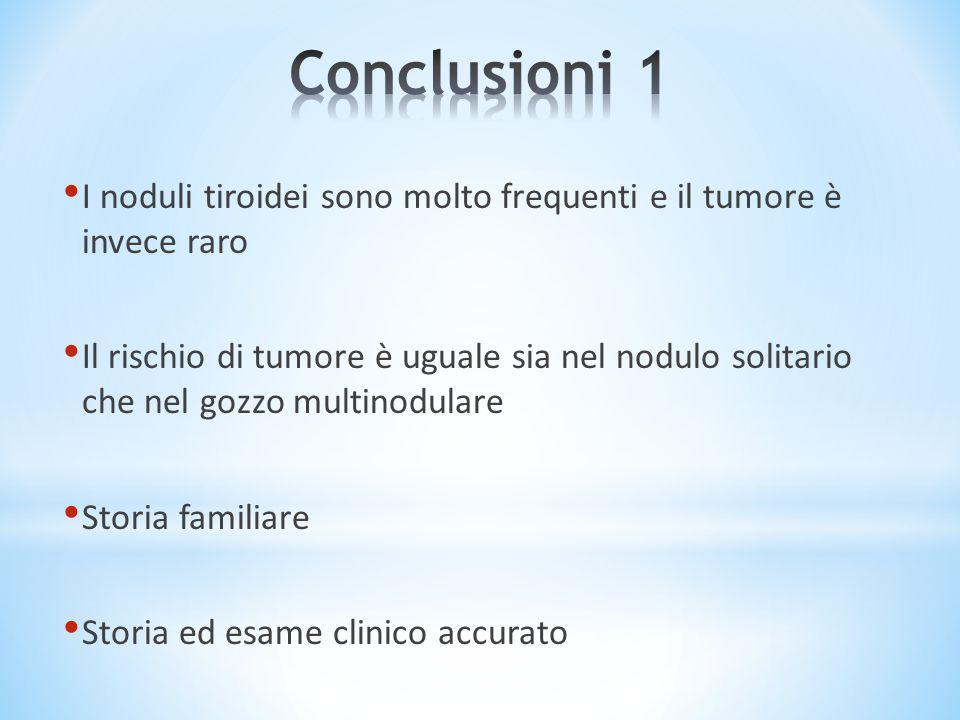 I noduli tiroidei sono molto frequenti e il tumore è invece raro Il rischio di tumore è uguale sia nel nodulo solitario che nel gozzo multinodulare St
