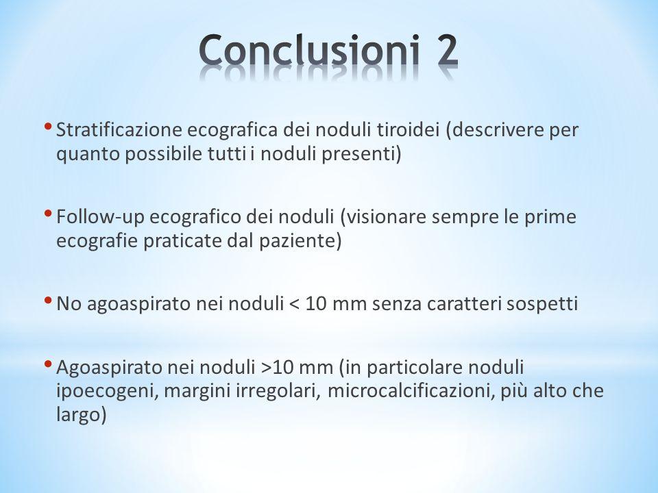 Stratificazione ecografica dei noduli tiroidei (descrivere per quanto possibile tutti i noduli presenti) Follow-up ecografico dei noduli (visionare se