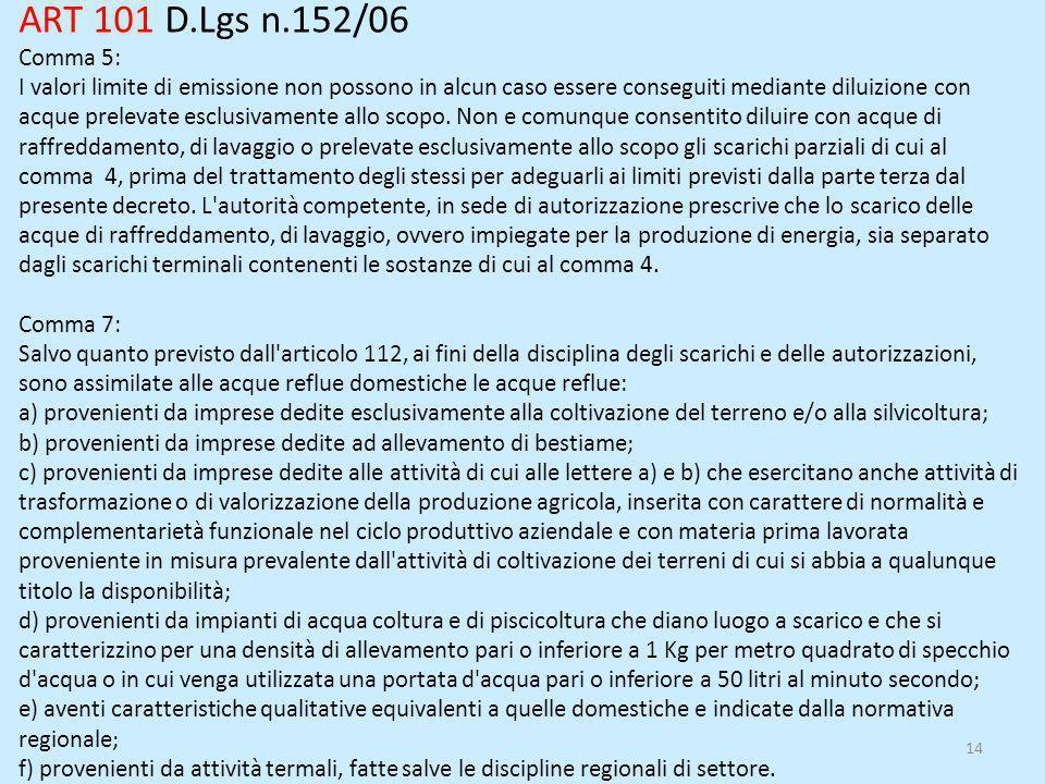 14 ART 101 D.Lgs n.152/06 Comma 5: I valori limite di emissione non possono in alcun caso essere conseguiti mediante diluizione con acque prelevate es