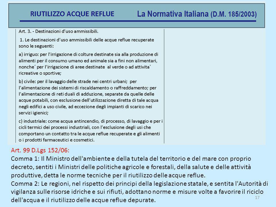 Art. 99 D.Lgs 152/06: Comma 1: Il Ministro dell'ambiente e della tutela del territorio e del mare con proprio decreto, sentiti i Ministri delle politi