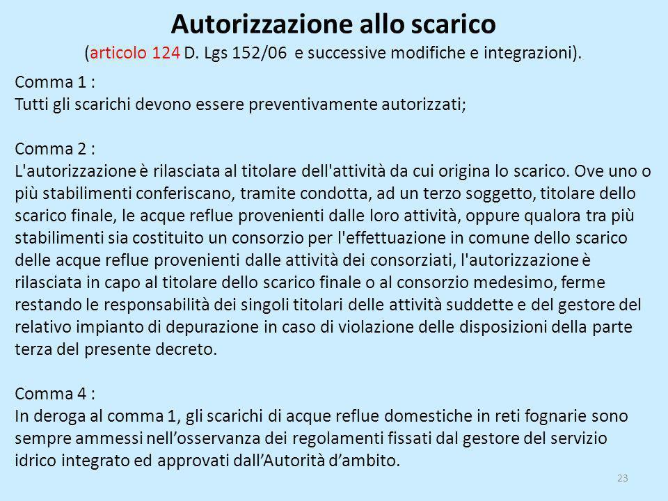 Autorizzazione allo scarico (articolo 124 D. Lgs 152/06 e successive modifiche e integrazioni). Comma 1 : Tutti gli scarichi devono essere preventivam