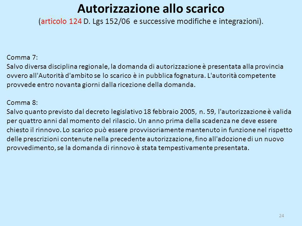 Autorizzazione allo scarico (articolo 124 D. Lgs 152/06 e successive modifiche e integrazioni). Comma 7: Salvo diversa disciplina regionale, la domand