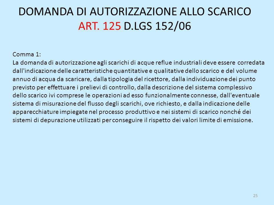 DOMANDA DI AUTORIZZAZIONE ALLO SCARICO ART. 125 D.LGS 152/06 Comma 1: La domanda di autorizzazione agli scarichi di acque reflue industriali deve esse