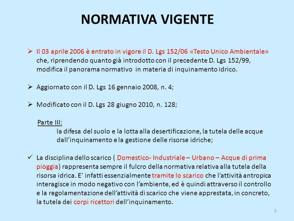 NORMATIVA VIGENTE  Il 03 aprile 2006 è entrato in vigore il D. Lgs 152/06 «Testo Unico Ambientale» che, riprendendo quanto già introdotto con il prec