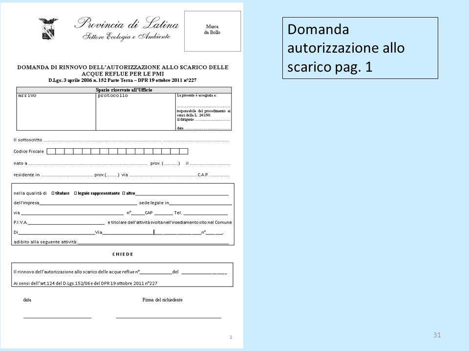 31 Domanda autorizzazione allo scarico pag. 1