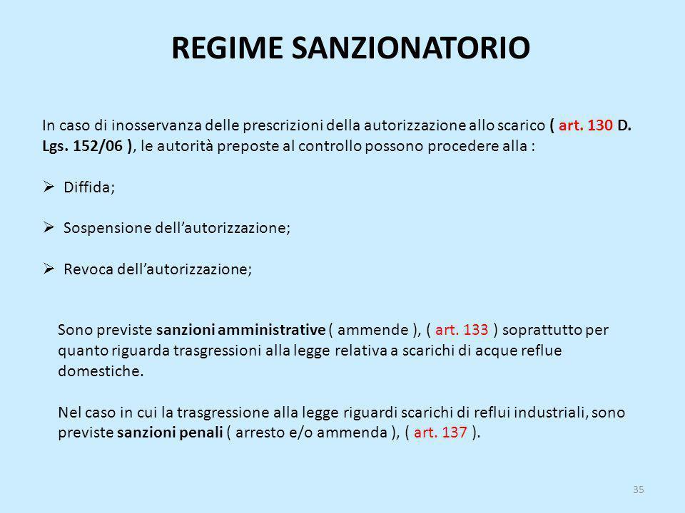 REGIME SANZIONATORIO In caso di inosservanza delle prescrizioni della autorizzazione allo scarico ( art. 130 D. Lgs. 152/06 ), le autorità preposte al