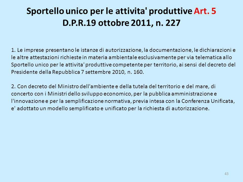 Sportello unico per le attivita' produttive Art. 5 D.P.R.19 ottobre 2011, n. 227 43 1. Le imprese presentano le istanze di autorizzazione, la document