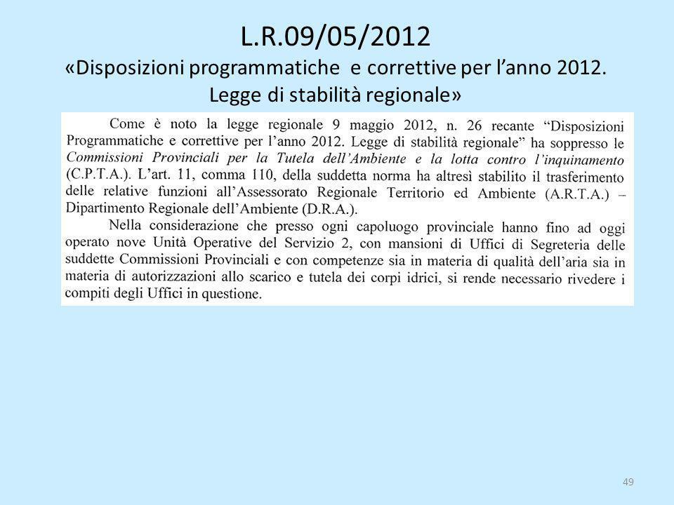 L.R.09/05/2012 «Disposizioni programmatiche e correttive per l'anno 2012. Legge di stabilità regionale» 49