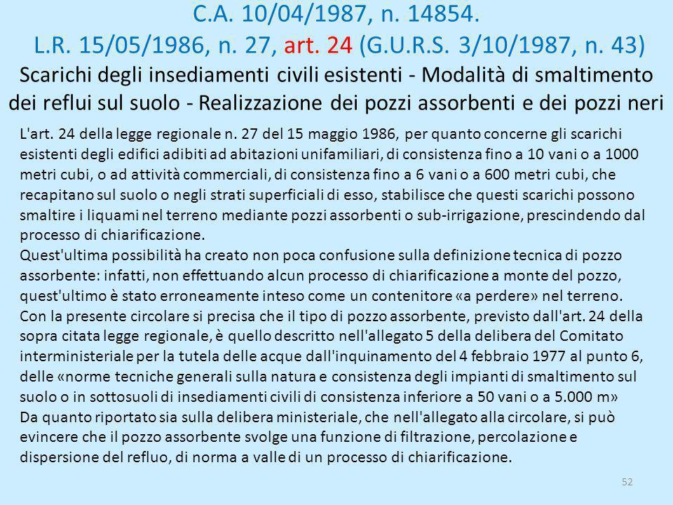 C.A. 10/04/1987, n. 14854. L.R. 15/05/1986, n. 27, art. 24 (G.U.R.S. 3/10/1987, n. 43) Scarichi degli insediamenti civili esistenti - Modalità di smal