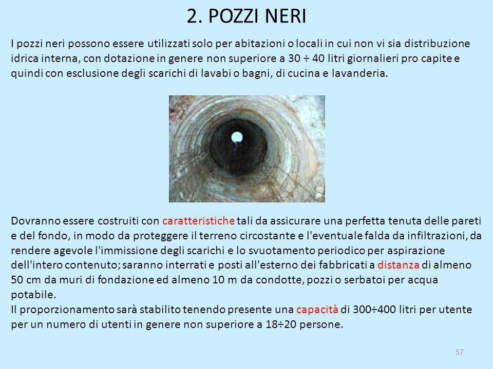 2. POZZI NERI 57 I pozzi neri possono essere utilizzati solo per abitazioni o locali in cui non vi sia distribuzione idrica interna, con dotazione in
