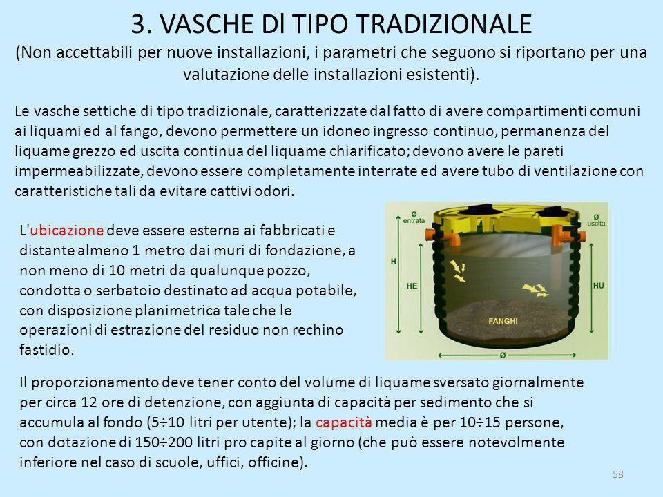 3. VASCHE Dl TIPO TRADIZIONALE (Non accettabili per nuove installazioni, i parametri che seguono si riportano per una valutazione delle installazioni