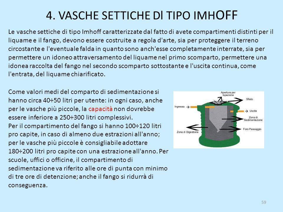 4. VASCHE SETTICHE Dl TIPO IMH OFF 59 Le vasche settiche di tipo Imhoff caratterizzate dal fatto di avete compartimenti distinti per il liquame e il f