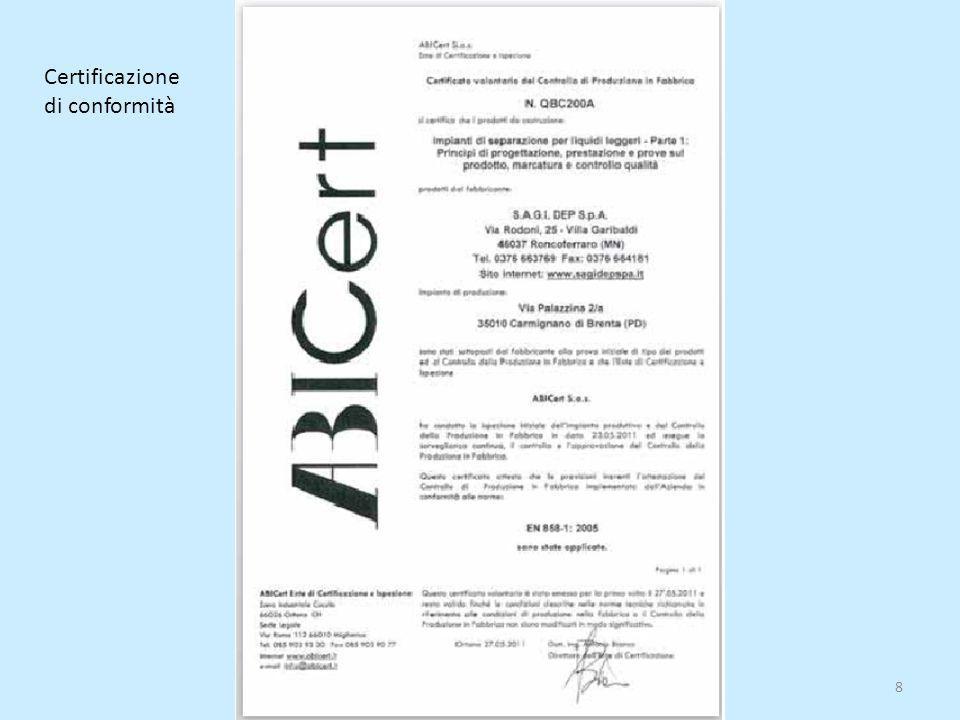 8 Certificazione di conformità