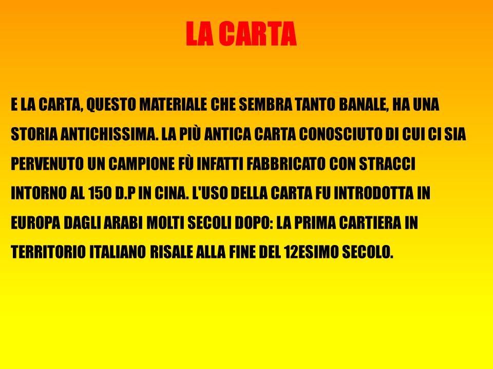 LA CARTA E LA CARTA, QUESTO MATERIALE CHE SEMBRA TANTO BANALE, HA UNA STORIA ANTICHISSIMA.