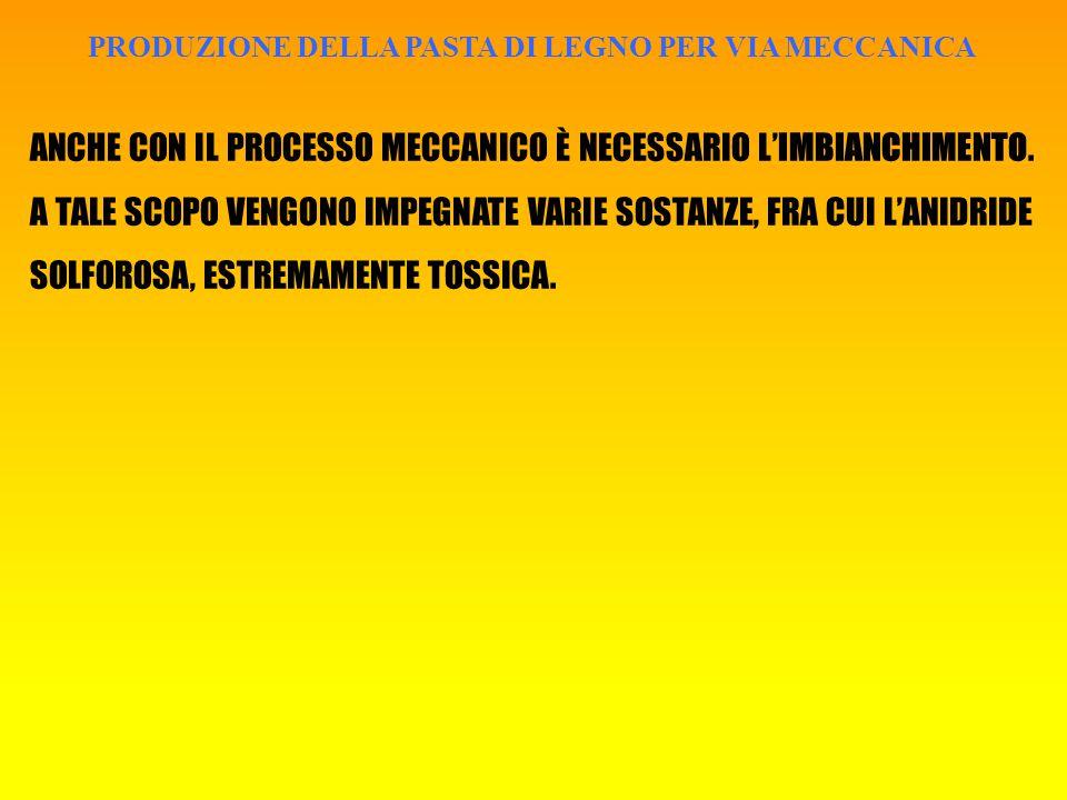 PRODUZIONE DELLA PASTA DI LEGNO PER VIA MECCANICA ANCHE CON IL PROCESSO MECCANICO È NECESSARIO L'IMBIANCHIMENTO.