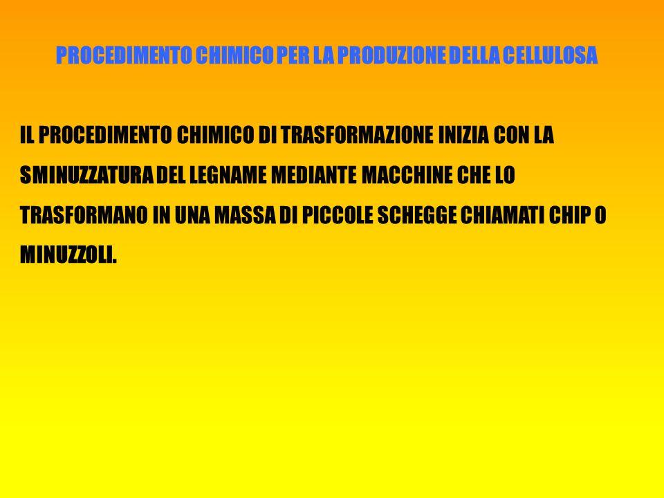 PROCEDIMENTO CHIMICO PER LA PRODUZIONE DELLA CELLULOSA IL PROCEDIMENTO CHIMICO DI TRASFORMAZIONE INIZIA CON LA SMINUZZATURA DEL LEGNAME MEDIANTE MACCHINE CHE LO TRASFORMANO IN UNA MASSA DI PICCOLE SCHEGGE CHIAMATI CHIP O MINUZZOLI.