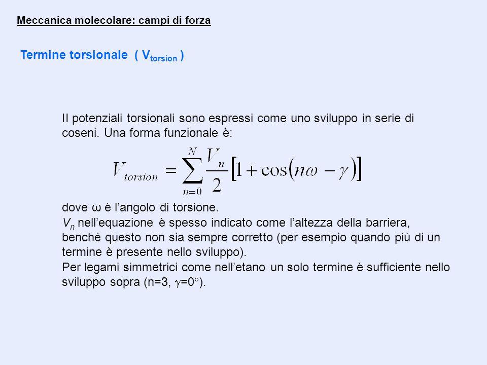 Meccanica molecolare: campi di forza Termine torsionale ( V torsion ) II potenziali torsionali sono espressi come uno sviluppo in serie di coseni. Una