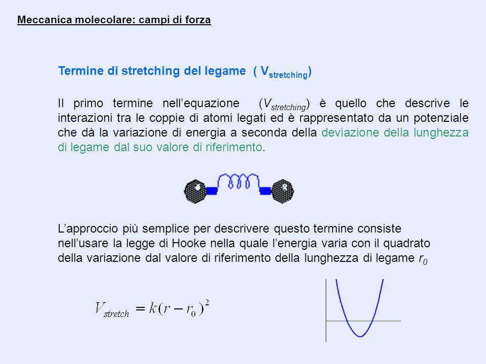 Meccanica molecolare: campi di forza Termine di stretching del legame ( V stretching ) Il primo termine nell'equazione (V stretching ) è quello che descrive le interazioni tra le coppie di atomi legati ed è rappresentato da un potenziale che dà la variazione di energia a seconda della deviazione della lunghezza di legame dal suo valore di riferimento.