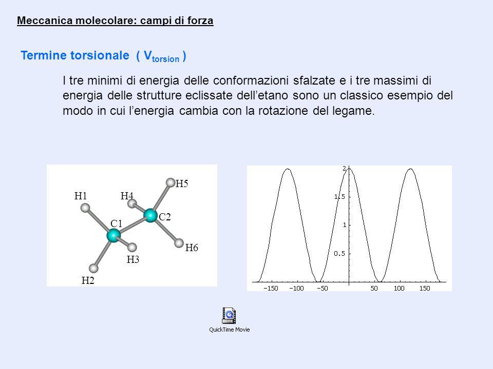 Termine torsionale ( V torsion ) I tre minimi di energia delle conformazioni sfalzate e i tre massimi di energia delle strutture eclissate dell'etano sono un classico esempio del modo in cui l'energia cambia con la rotazione del legame.