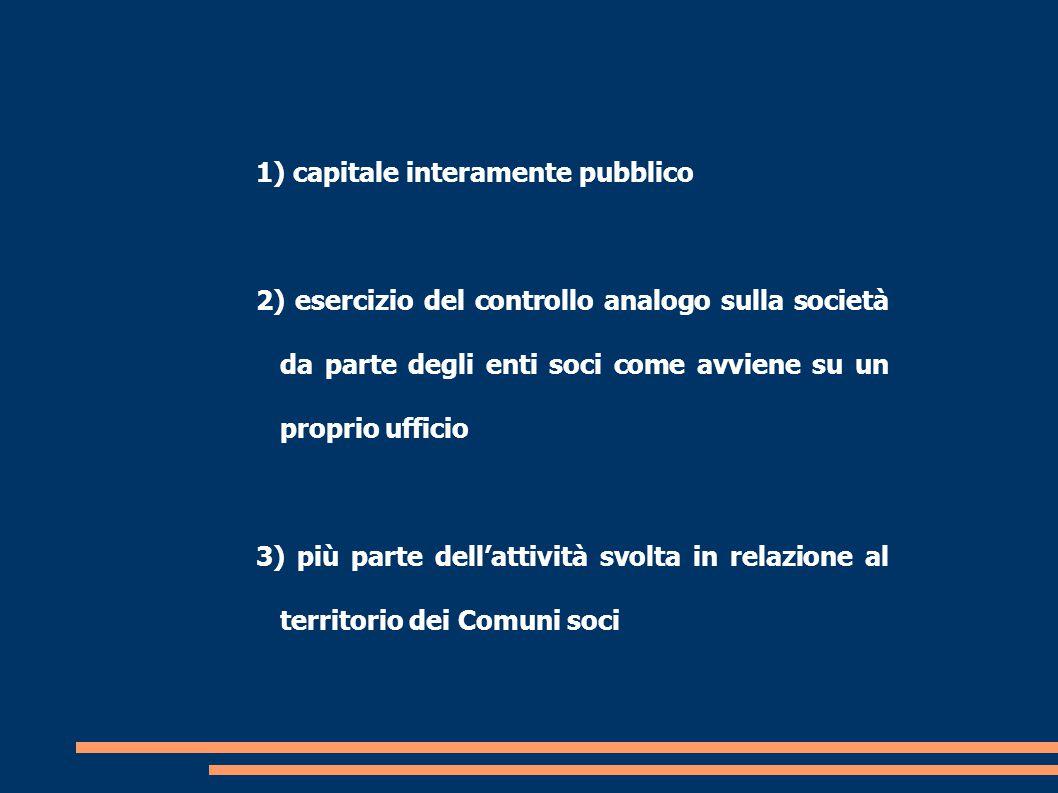 1) capitale interamente pubblico 2) esercizio del controllo analogo sulla società da parte degli enti soci come avviene su un proprio ufficio 3) più parte dell'attività svolta in relazione al territorio dei Comuni soci