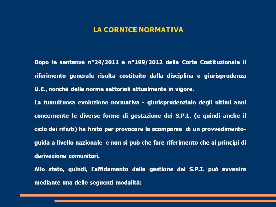 LA CORNICE NORMATIVA Dopo le sentenze n°24/2011 e n°199/2012 della Corte Costituzionale il riferimento generale risulta costituito dalla disciplina e giurisprudenza U.E., nonché delle norme settoriali attualmente in vigore.