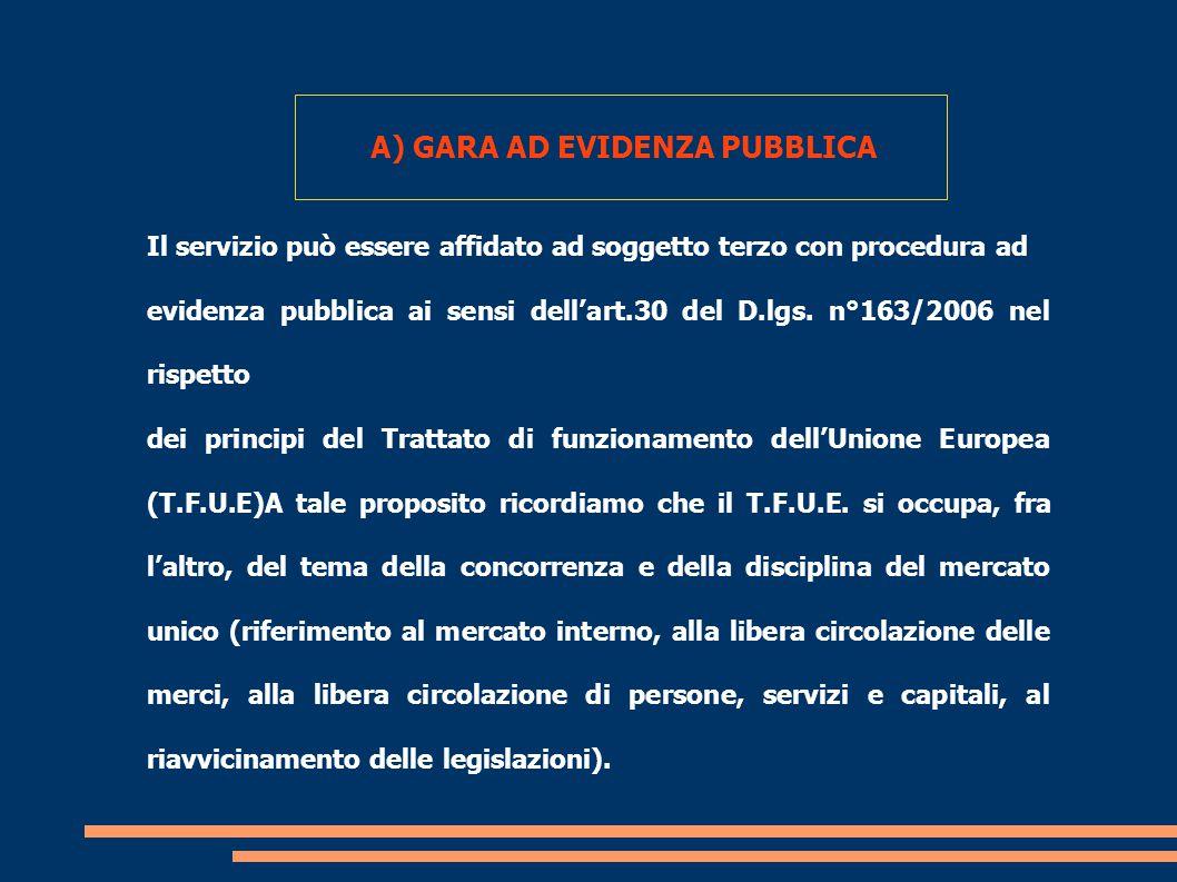A) GARA AD EVIDENZA PUBBLICA Il servizio può essere affidato ad soggetto terzo con procedura ad evidenza pubblica ai sensi dell'art.30 del D.lgs.