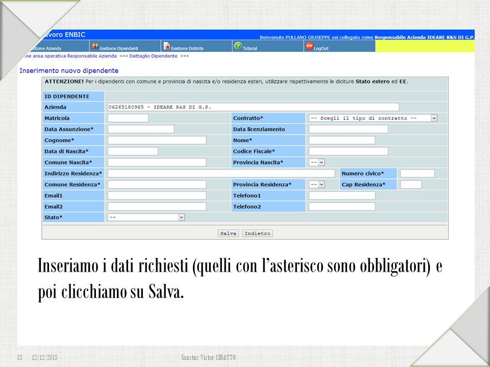 """12/12/2013 13 Sanctus Victor CIR&TTO Iscrizione Dipendente Torniamo al sistema informativo, ma questa volta clicchiamo su """"Effettua un login"""". Inseria"""