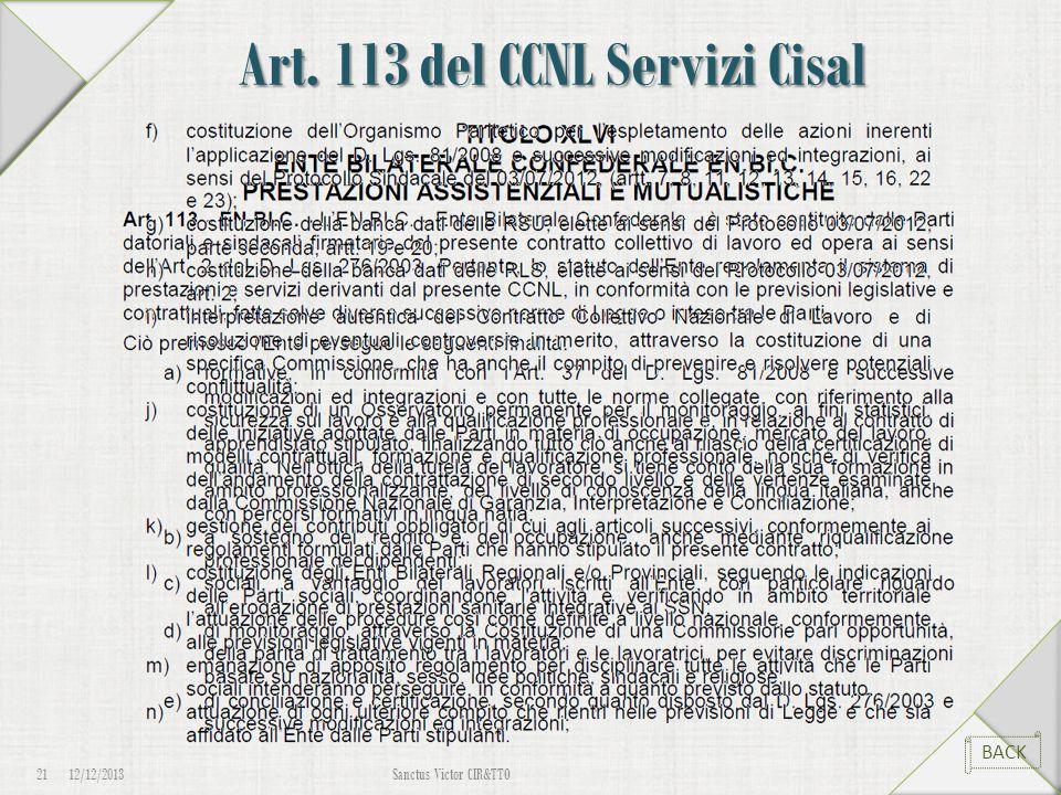 Art. 113 del CCNL Servizi Cisal 12/12/2013Sanctus Victor CIR&TTO 21 BACK