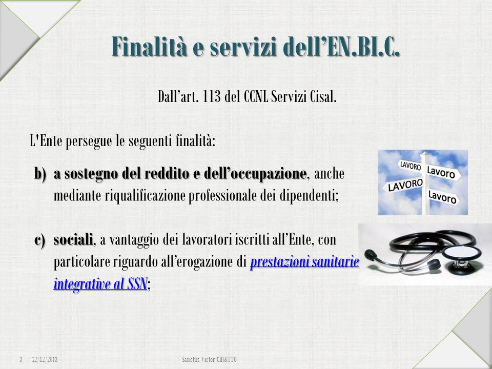 Finalità e servizi dell'EN.BI.C. Dall'art. 113 del CCNL Servizi Cisal. L'Ente persegue le seguenti finalità: 12/12/2013 3 Sanctus Victor CIR&TTO b)a s