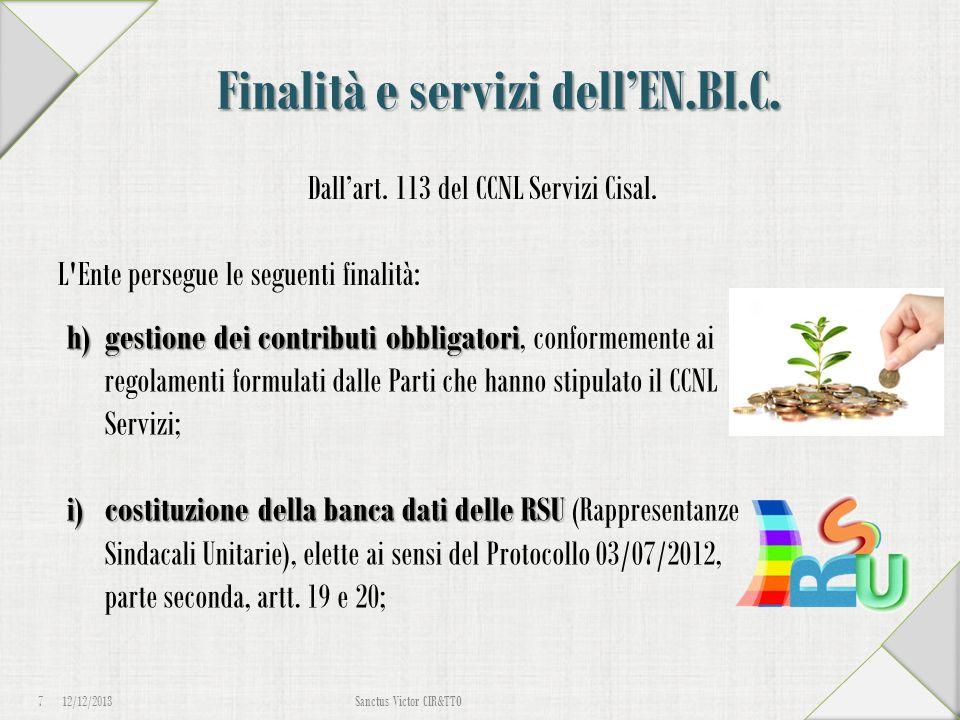Finalità e servizi dell'EN.BI.C. Dall'art. 113 del CCNL Servizi Cisal. L'Ente persegue le seguenti finalità: 12/12/2013 7 Sanctus Victor CIR&TTO h)ges