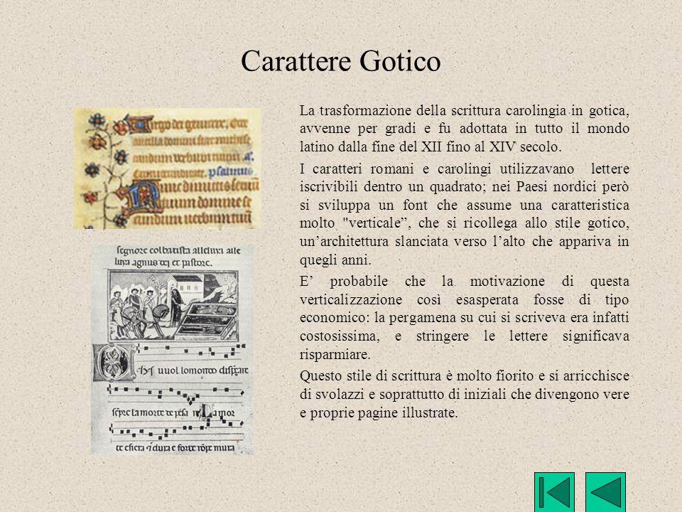 Carattere Gotico La trasformazione della scrittura carolingia in gotica, avvenne per gradi e fu adottata in tutto il mondo latino dalla fine del XII f