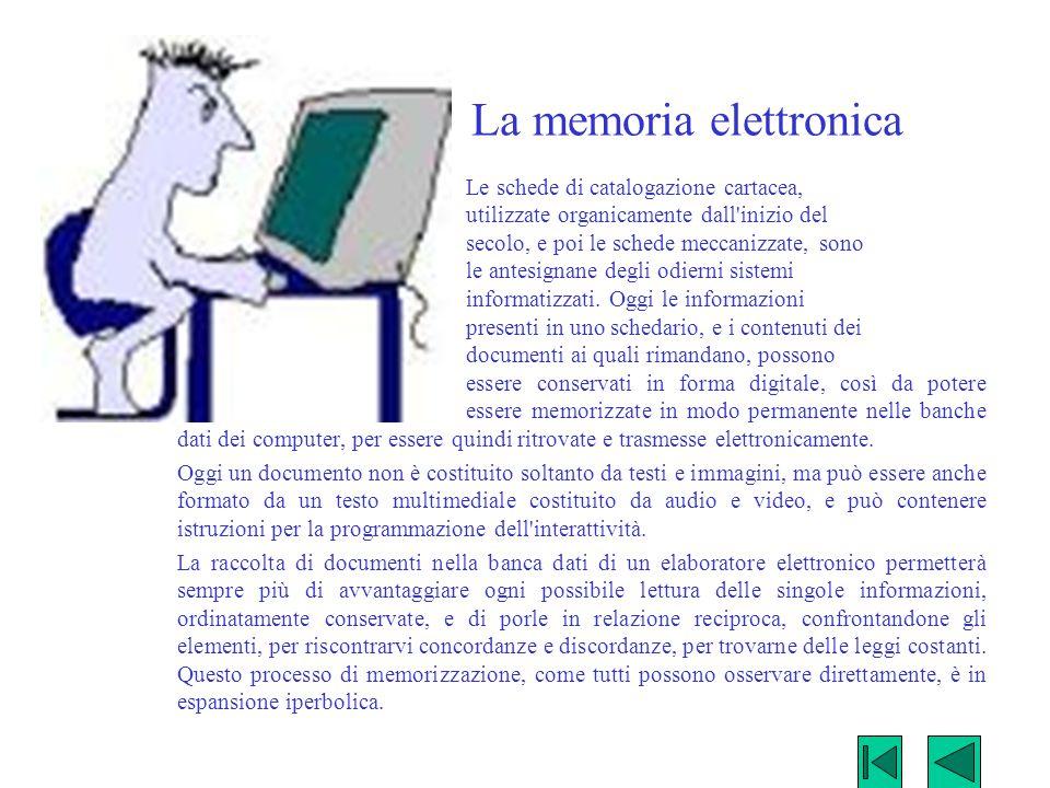 La memoria elettronica Le schede di catalogazione cartacea, utilizzate organicamente dall'inizio del secolo, e poi le schede meccanizzate, sono le ant