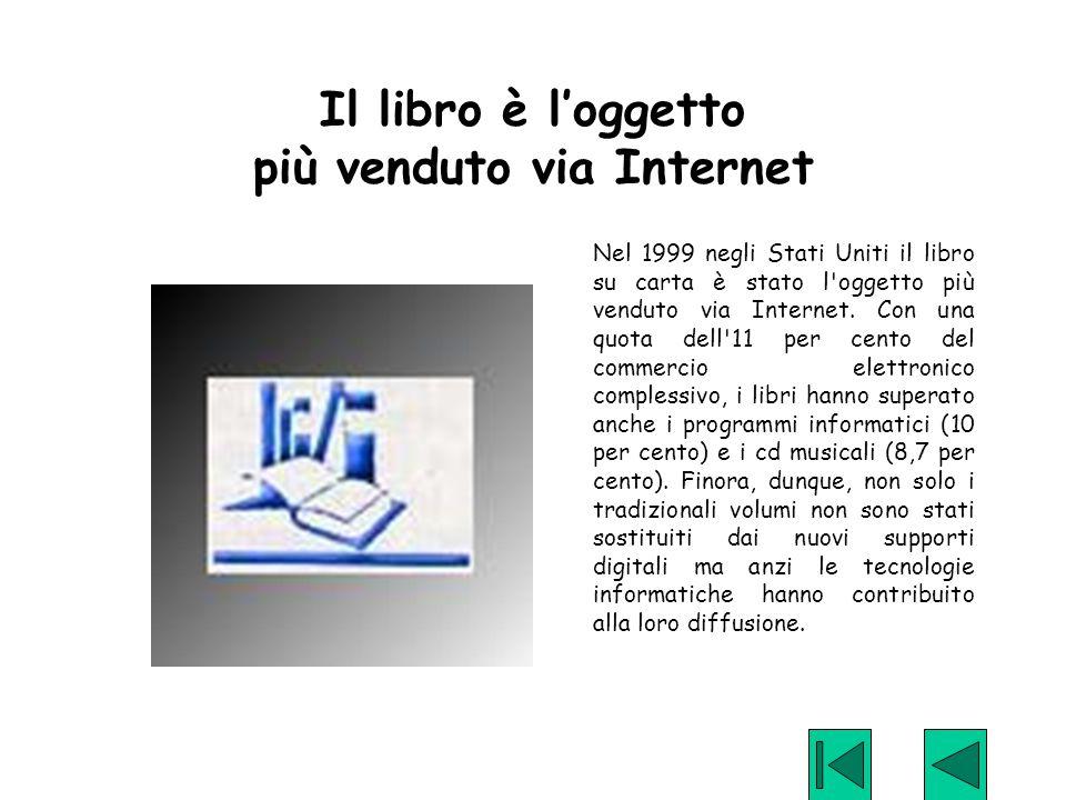 Il libro è l'oggetto più venduto via Internet Nel 1999 negli Stati Uniti il libro su carta è stato l'oggetto più venduto via Internet. Con una quota d