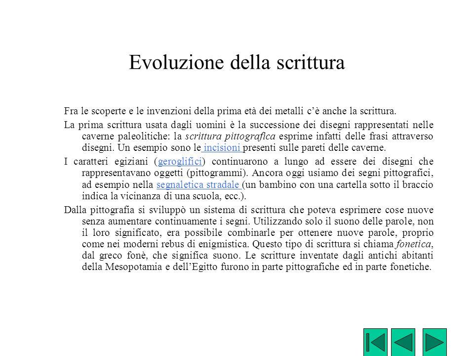 Evoluzione della scrittura Fra le scoperte e le invenzioni della prima età dei metalli c'è anche la scrittura. La prima scrittura usata dagli uomini è